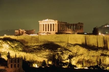 THE PARTHENON AT NIGHT ATHENS, GREECE