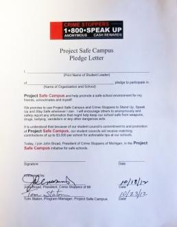 Project Safe Campus Pledge